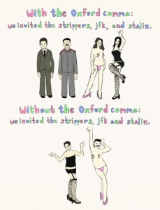 Source: http://www.outsidethebeltway.com/oxford-comma-cartoon/oxford-comma-jfk-stalin/
